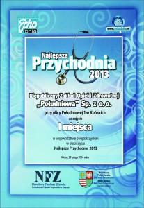 Najlepsza przychodnia 2013 roku w województwie świętokrzyskim w plebiscycie Echa Dnia